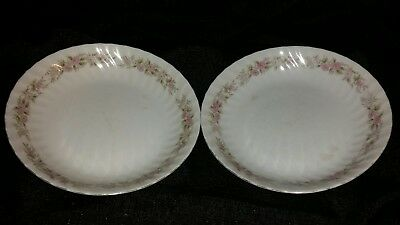 "Set of 2 Dansico Teahouse Rose w/Platinum trim Fine China 7.5"" bowl"