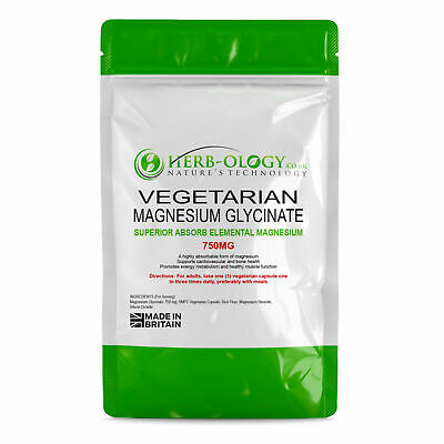 Magnesium Glycinate Capsules Herbology Pure 750mg Tablets Vegan High Strength
