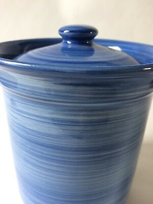 Stunning Ulster Ceramics Hand Painted Blue Pottery Pot With Lid / New