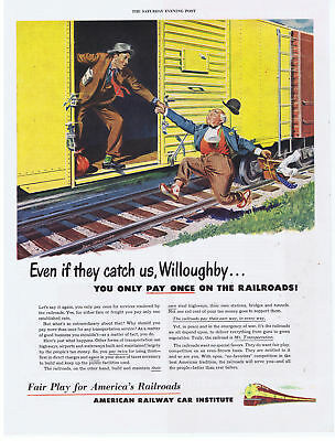 1950 American Railway Car Institute Hoboes Jumping on the Train Print Ad