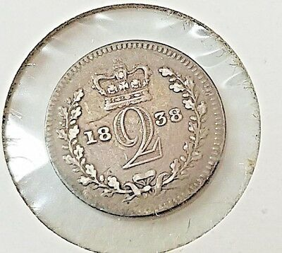 Sterling silver Queen Victoria 1838  Two Pence Great Britain 2p old coin VF
