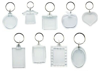 Clear Blank Keyring For Photo/Picture For Birthday Wedding Logo Family Gift Keys