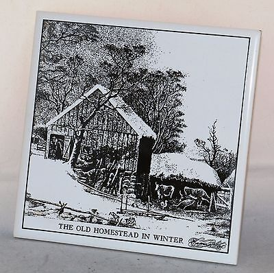 """Vintage Currier and Ives Art Tile """"The Old Homestead in Winter"""" 6"""" x 6"""" in Box"""