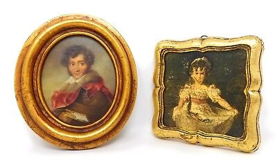 Pair of Vintage Miniature Framed Portraits 1930's Italy Man Girl in Dress - EUC