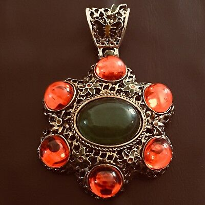 Old Chinese Pendant With Carved Miao Silver & Beads & Green Jade, China.