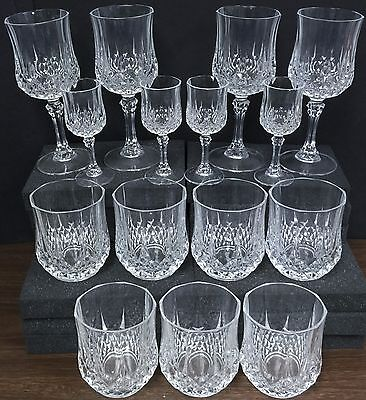 Set of 15 lead crystal Cristal D'Arques 4 wine, 4 cordial, 7 tumbler France