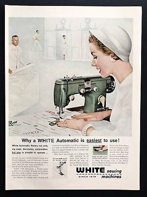 1956 Vintage Print Ad WHITE Sewing Machine Illustration Art 50's