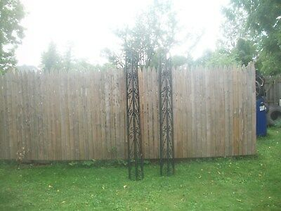 (2) VTG Wrought Iron Porch Supports Corner Columns Scroll Architectural Salvage