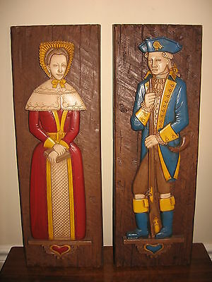 Pair of Vintage 1960's SYROCO Co. Colonial Soldier Man & Woman Wall Art Plaques