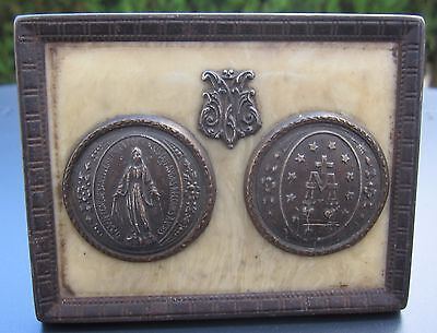 Antique French Broze or Brass Framed miniature Miraculous Medal  wall plaque