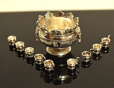 Miniature Sterling Silver Punch Bowl with Cups Dollhouse 1:12 Peter Acquisto