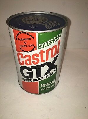 Vintage Castrol Gtx 10W30 Motor Oil Cardboard And Metal Can (full)