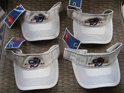 (4) Budweiser Beer Visors Embroidered  Khaki & Adjustable Golf, Fishing W/ Tag