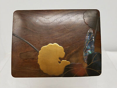 Antique Fine Japanese Lacquered Wood Box Incense Card Cigarette Abalone Pearl