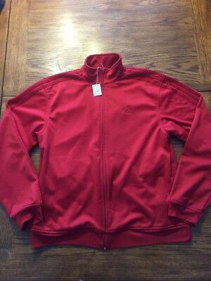 Adidas Men's Climawarm Medium Red On Red Zipped Athletic Warm-Up Jacket