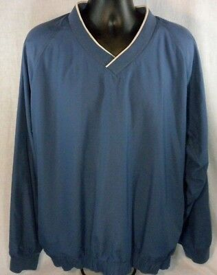 Adidas Mens Jacket 2XL Blue White Pullover V Neck L/S Warm Up Climashell Golf
