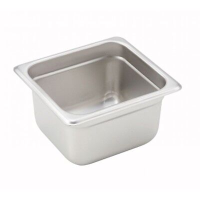 """Winco SPJH-604 4"""" S/s Solid Steam Table Pan 1/6 Size Heavy Weight"""