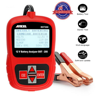 Universal 12V Automotive Battery Voltage Tester With Croc Clips 100-1100CCA Car
