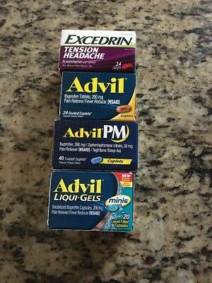 EXCEDRIN Tension Headache 24 CAPLETS 3 ADVIL 40 24 20 COATED CAPLETS Pm Liquid G
