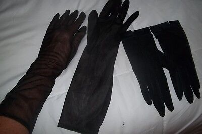 Womens Vintage Gloves~Two Pair of Black Sheer Gloves~ Two Lengths