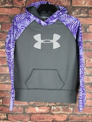 Under Armour Loose Gray & Purple Hoodie Sweatshirt Girl's Youth YLG Large L Top