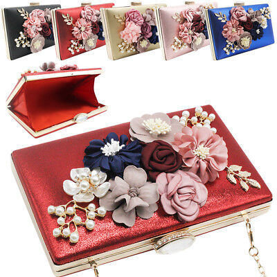 Women's Stain Pearls Beaded Wedding Party Prom Evening Clutch Shoulder Handbag