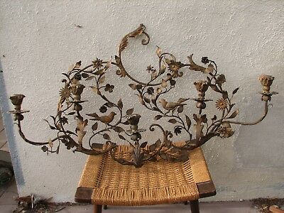 SWEET Vintage Antique FLORENTINE Tole Ware CANDLE Wall Sconce BIRDS & FLOWERS