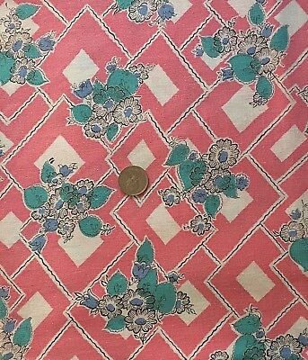 "Vintage Full Feed/Flour Sack Pretty Aqua Leaves and Flowers on Pink  47"" x 37"""