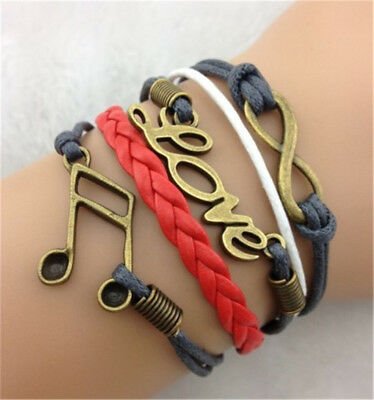 NEW Infinity note LOVE ancient bronze Leather Charm Bracelet HOT
