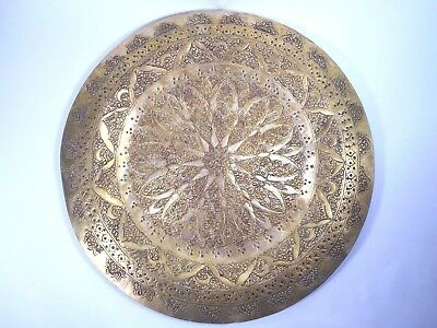 Antique vintage Islamic brass charge plate /tray Hand Engraved