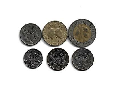 Ghana: Mixed Lot of 6 Ghana Coins from 1996-2007