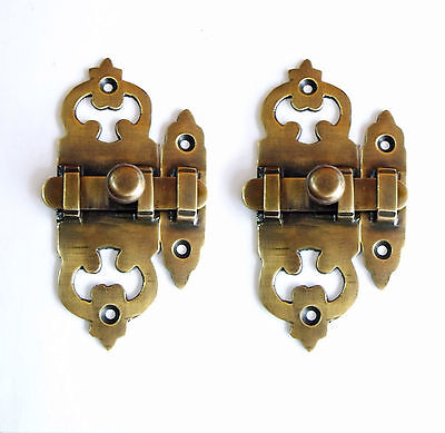 LOT OF 2 PCS VICTORIA Antique Vintage BRASS LATCH BOX SLOT Cabinet Door LOCK