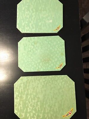 Vintage Lot Of 3 Green Hot Plate Mats Trivets