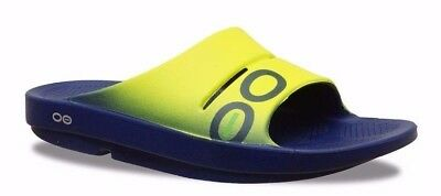 Oofos Ooahh SPORT Slide Sandal Unisex Recovery Electric Yellow/Navy Sizes 4-15