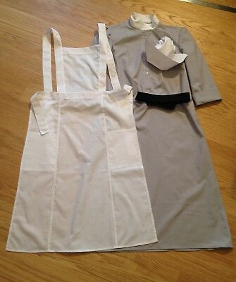 WWII WW2 Nurse Uniform grey dress, white apron, black belt, hat, size 4-30