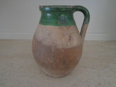 19Th Century Antique French Terra Cotta Redware Pottery Green Manganese Glaze