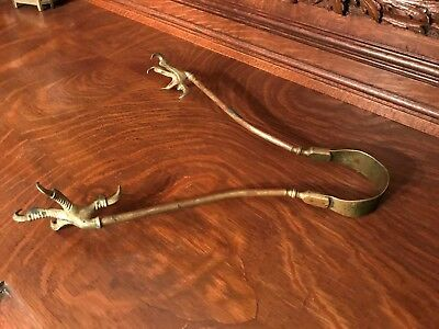 Antique Hand Forged Brass Ball + Claw Eagle Talon Fireplace Kitchen Tongs