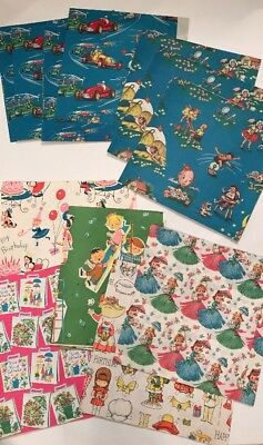 Lot Vintage Wrapping Gift Paper Children Nursery Rhymes Boys