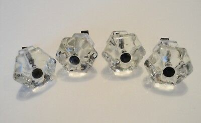4 Vintage Antique Glass Knobs Door Pulls -  Brass Base