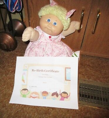 Cute & Chubby Blonde Short Poodle Hair Cabbage Patch Doll! New Pink Floral Dress