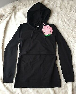 NWT B. Warmer Black Hoodie, Boob Design Nursing Shirt - Sz S