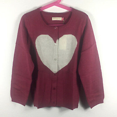 NWT Pink Chicken Girls Red Sweater with White Heart Design Size 10Y