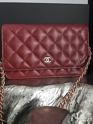 1469d0e9f3f2 Nwt Chanel 18C Iridescent Red Burgundy Woc Mini Clutch Bag Wallet On Chain  2018