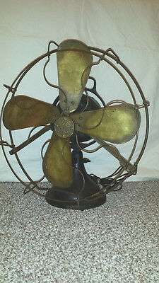 "Antique GE General Electric FAN BRASS BLADE Cage PANCAKE 16"" vintage"