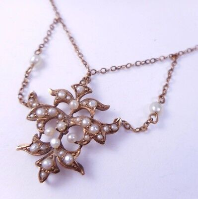 Antique Victorian 10k Solid Gold Seed Pearl Ornate Pendant Festoon Necklace NR