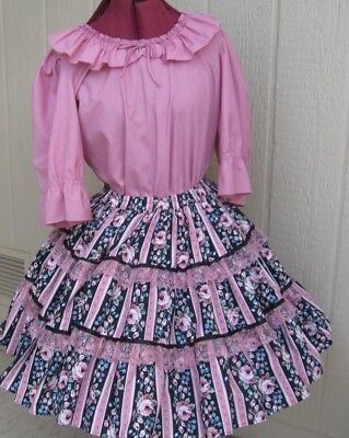 Malco Modes 2 pc rose and coordinating print poly cotton square dance dress - L