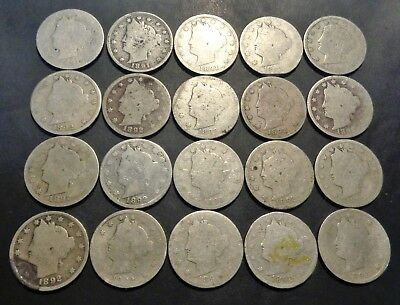 20 tougher date coins all 1891 and 1892 Liberty head 5C V nickel lot