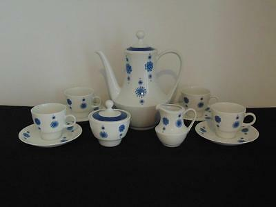Vintage Mitterteich Retro Blue & White Pinwheel Pattern Coffee/tea Set For 4