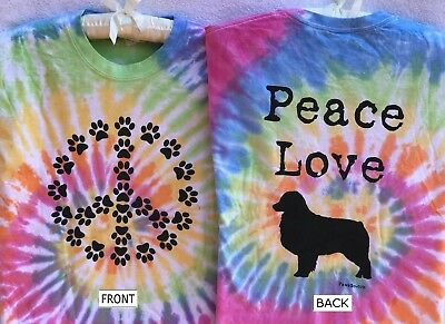 Aussie Rescue - Paw print peace sign short sleeved multicolor tie dye t-shirt