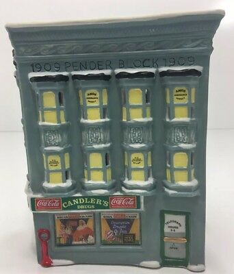 Coca Cola Candler's Drugs Town Square Collection Box Retired 1992 Holiday Set